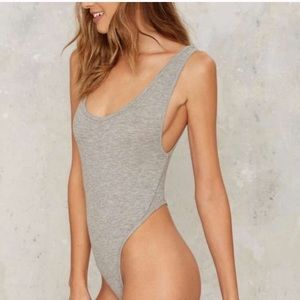 🌺 NEW! Nasty Gal Get Physical Gray Thong Bodysuit